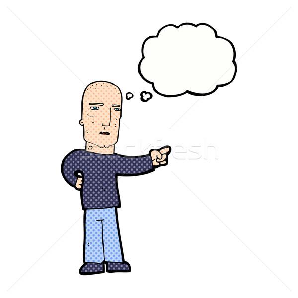 Karikatür sert adam işaret düşünce balonu el Stok fotoğraf © lineartestpilot