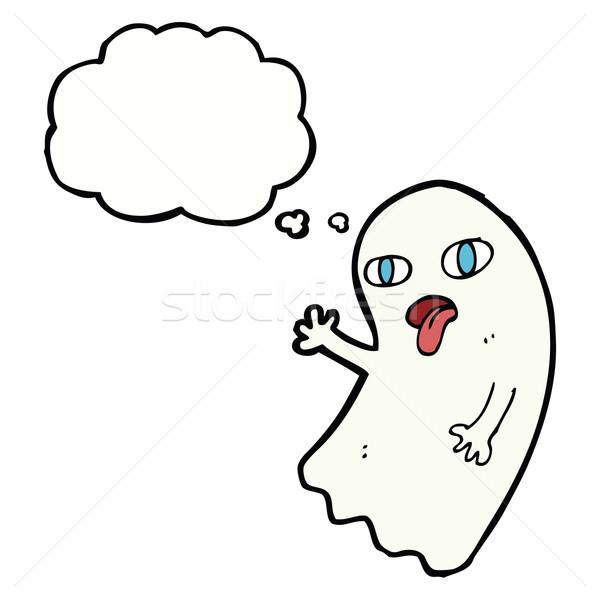 Engraçado desenho animado fantasma balão de pensamento mão projeto Foto stock © lineartestpilot