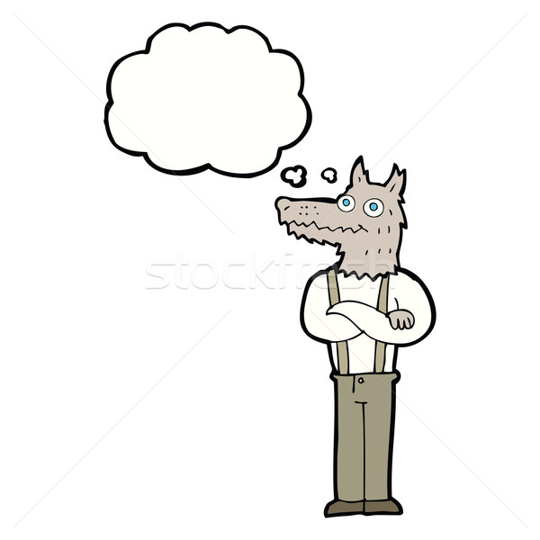 Karikatür komik kurt adam düşünce balonu el adam Stok fotoğraf © lineartestpilot