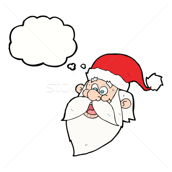 cartoon jolly santa claus face with thought bubble Stock photo © lineartestpilot