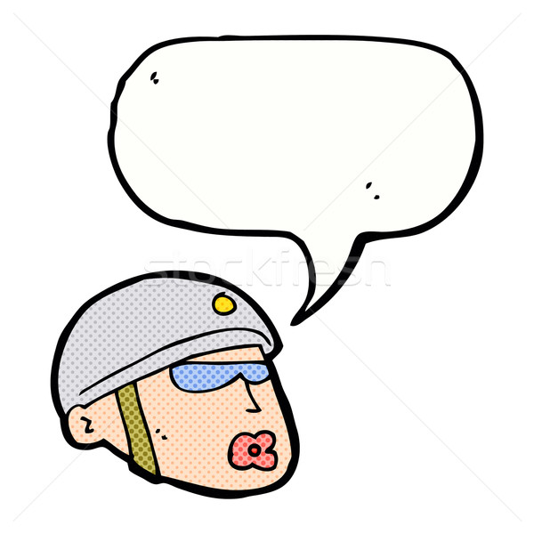 cartoon policeman head with speech bubble Stock photo © lineartestpilot