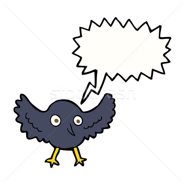 Desenho animado corvo balão de fala mão projeto arte Foto stock © lineartestpilot