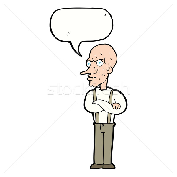 cartoon mean old man with speech bubble Stock photo © lineartestpilot