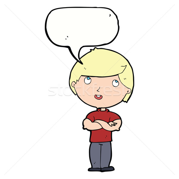 cartoon happy man with folded arm with speech bubble Stock photo © lineartestpilot