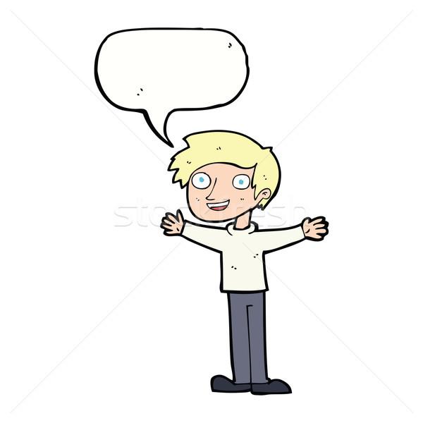Cartoon enthousiast man tekstballon hand gelukkig Stockfoto © lineartestpilot