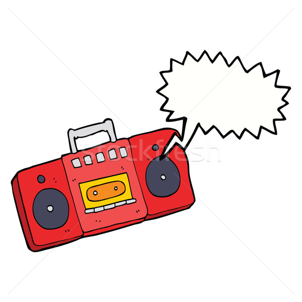 Cartoon radio cassette speler tekstballon hand Stockfoto © lineartestpilot