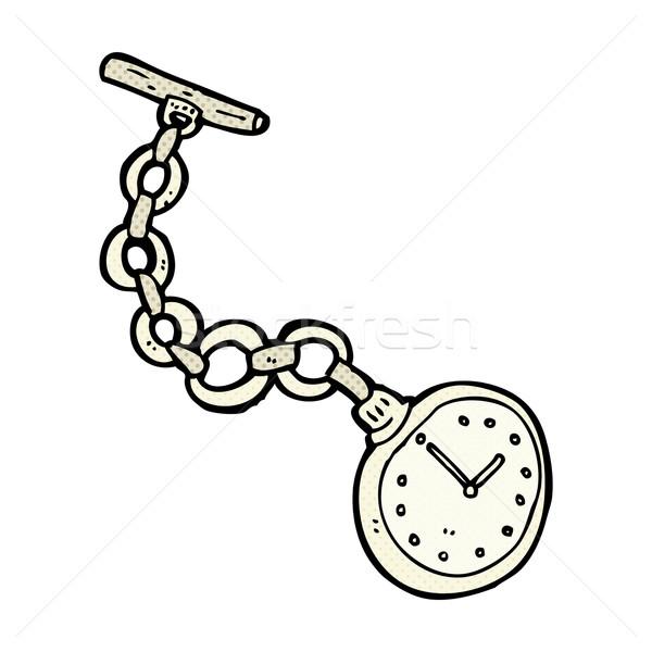 Cómico Cartoon edad reloj de bolsillo retro Foto stock © lineartestpilot