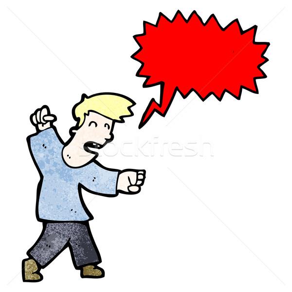 Mérges férfi kiált rajz művészet retro Stock fotó © lineartestpilot
