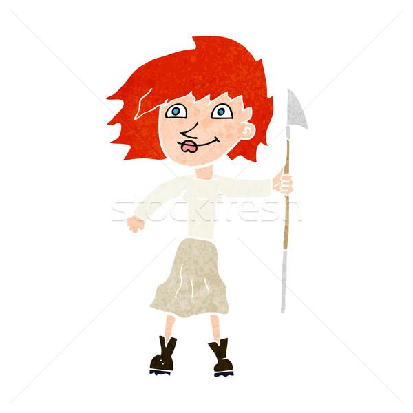 Cartoon vrouw speer hand ontwerp gek Stockfoto © lineartestpilot