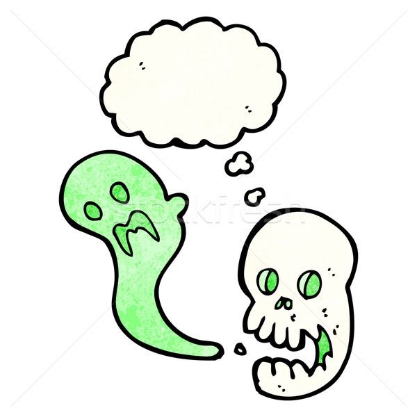cartoon spooky skull with thought bubble Stock photo © lineartestpilot