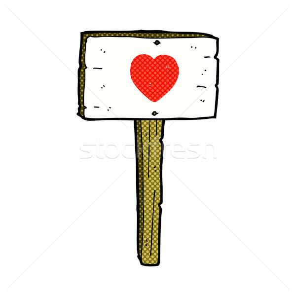 Cômico desenho animado amor coração assinar postar Foto stock © lineartestpilot
