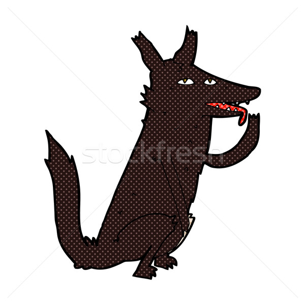 comic cartoon wolf licking paw Stock photo © lineartestpilot