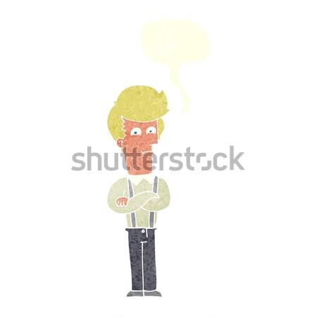 Cartoon agacé homme bulle de pensée main design Photo stock © lineartestpilot