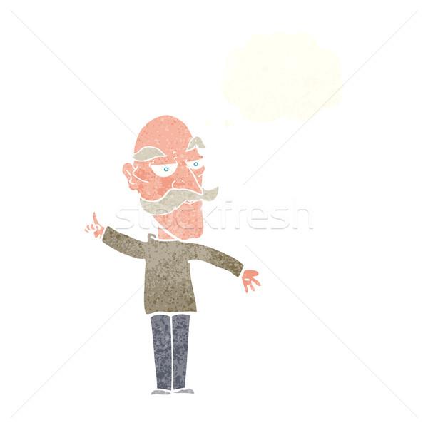 Rajz idős férfi történet gondolatbuborék kéz férfi Stock fotó © lineartestpilot
