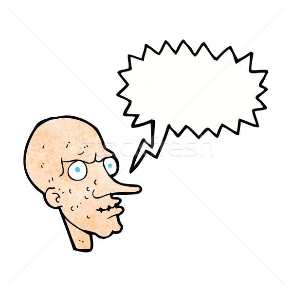 Cartoon kwaad oude man tekstballon hand man Stockfoto © lineartestpilot