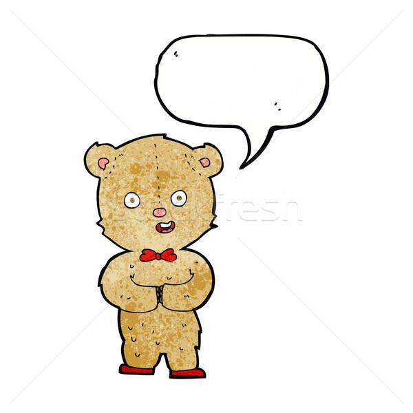 Cartoon teddybeer tekstballon hand ontwerp dieren Stockfoto © lineartestpilot