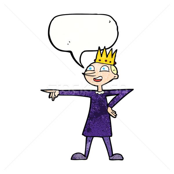 Desenho animado indicação príncipe balão de fala mão feliz Foto stock © lineartestpilot
