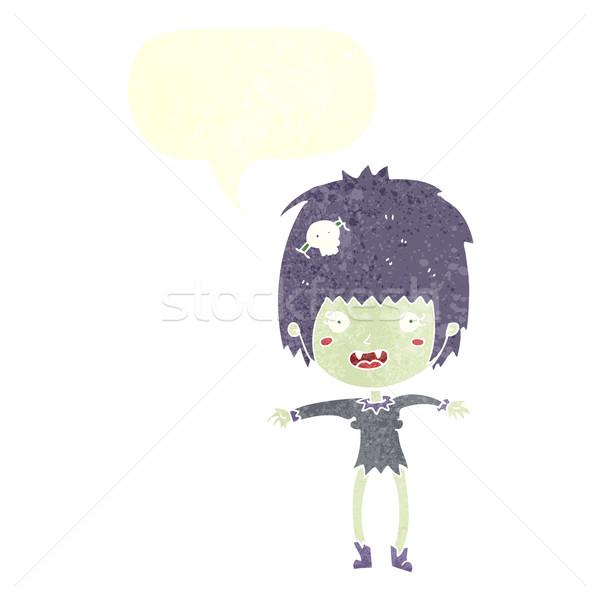 Cartoon vampire fille bulle femme main Photo stock © lineartestpilot