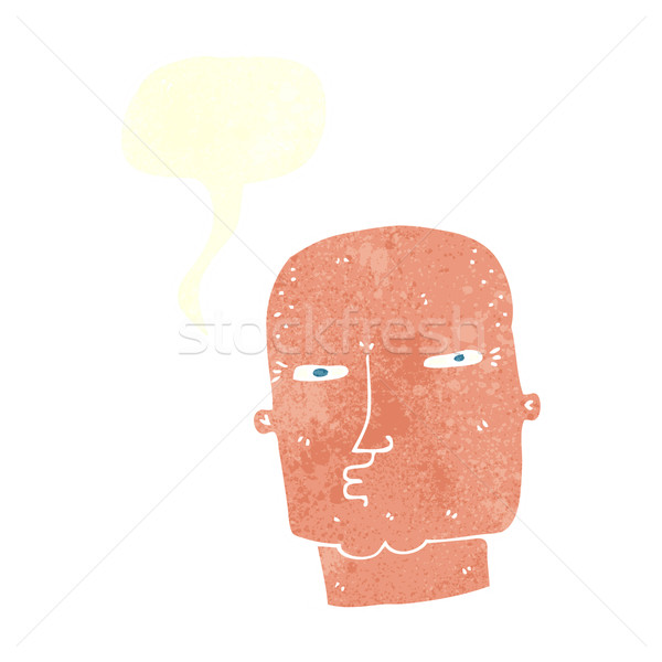 cartoon bald tough guy with speech bubble Stock photo © lineartestpilot