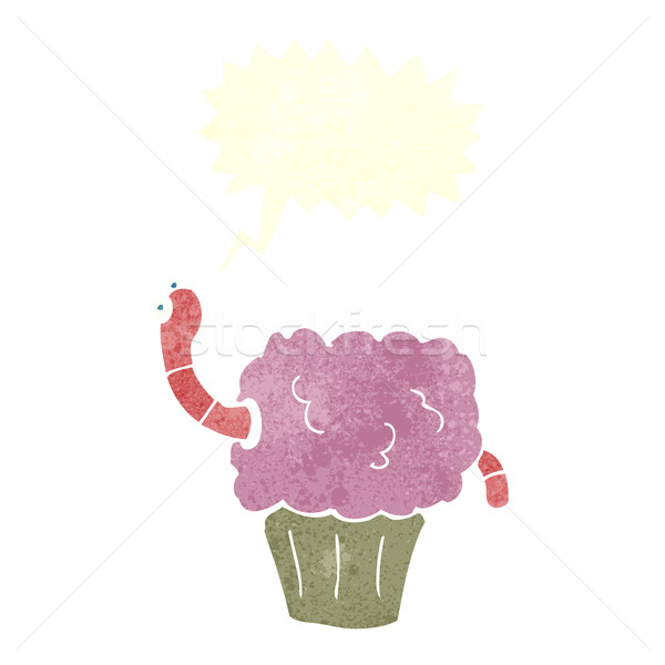cartoon worm in cupcake with speech bubble Stock photo © lineartestpilot