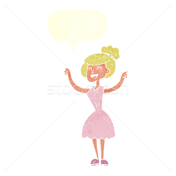 cartoon woman with raised arms with speech bubble Stock photo © lineartestpilot