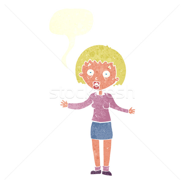 cartoon woman making excuses with speech bubble Stock photo © lineartestpilot