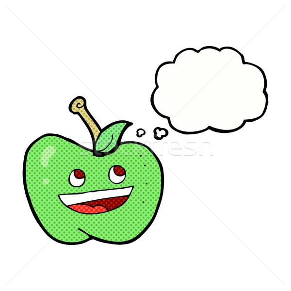 Cartoon яблоко мысли пузырь стороны дизайна фрукты Сток-фото © lineartestpilot
