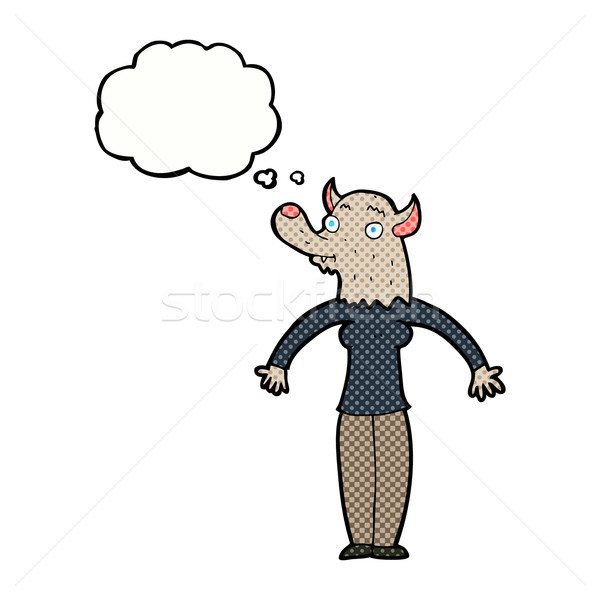 Stok fotoğraf: Karikatür · dostça · kurt · adam · kadın · düşünce · balonu · el