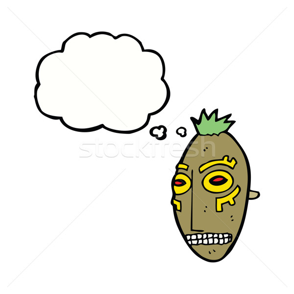 cartoon tribal mask with thought bubble Stock photo © lineartestpilot