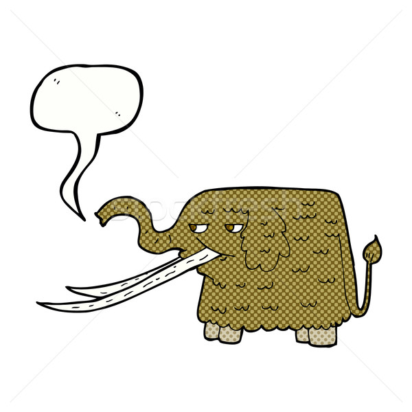 cartoon woolly mammoth with speech bubble Stock photo © lineartestpilot