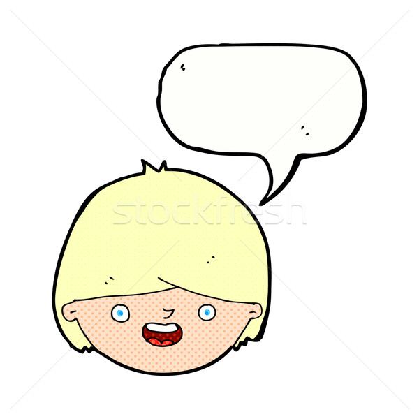 Cartoon cara feliz bocadillo mano cara feliz Foto stock © lineartestpilot