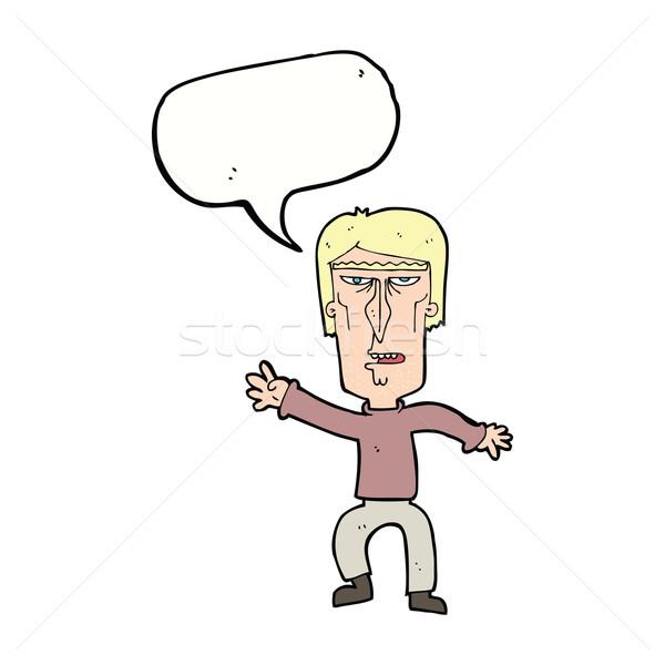 Karikatür öfkeli adam uyarı konuşma balonu Stok fotoğraf © lineartestpilot