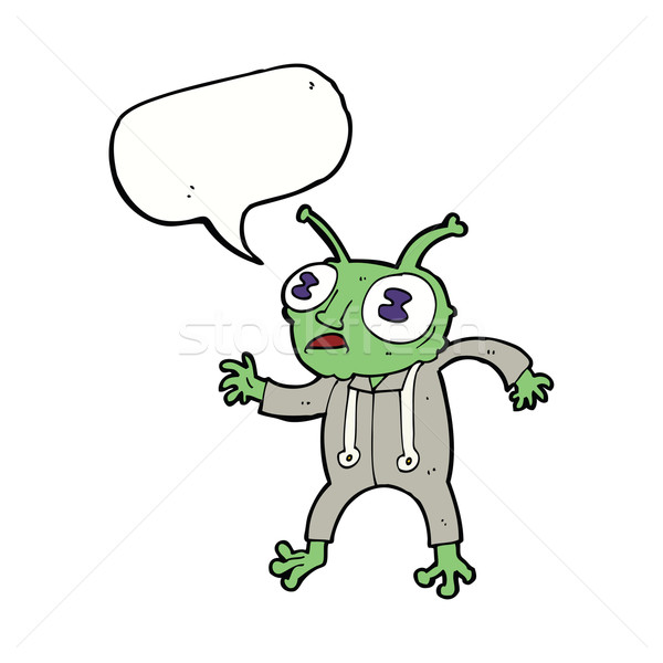 cartoon alien spaceman with speech bubble Stock photo © lineartestpilot