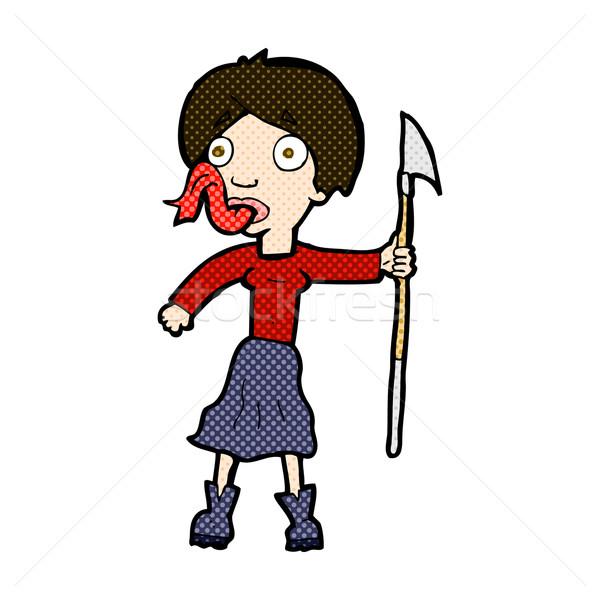 Komische cartoon vrouw speer uit tong Stockfoto © lineartestpilot