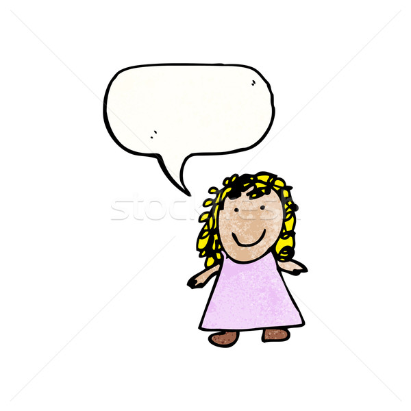 Stock photo: child's drawing of a girl