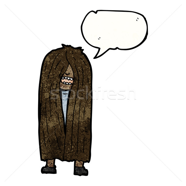 Hosszú hajú hippi férfi retro rajz férfi Stock fotó © lineartestpilot
