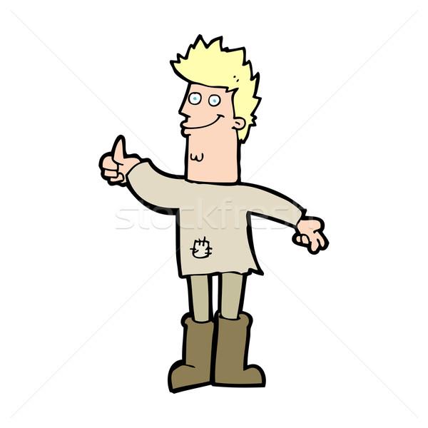 Cartoon positief denken man ontwerp kunst Stockfoto © lineartestpilot