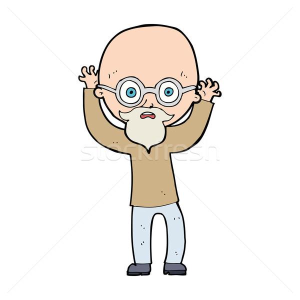 cartoon stressed bald man Stock photo © lineartestpilot