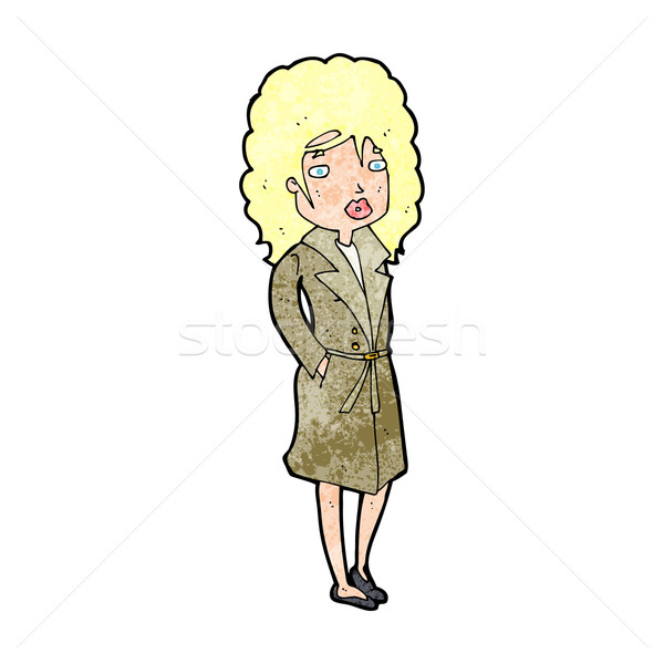 cartoon woman in trench coat Stock photo © lineartestpilot