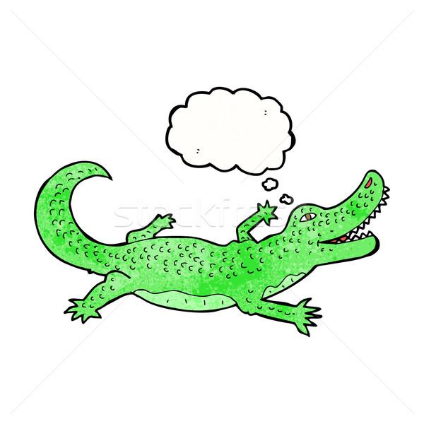 Cartoon cocodrilo burbuja de pensamiento mano diseno arte Foto stock © lineartestpilot