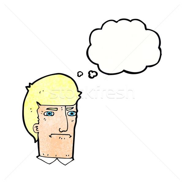 Cartoon человека глазах мысли пузырь стороны лице Сток-фото © lineartestpilot