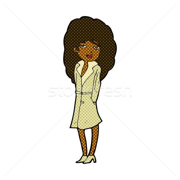 Komische cartoon vrouwelijke spion retro Stockfoto © lineartestpilot