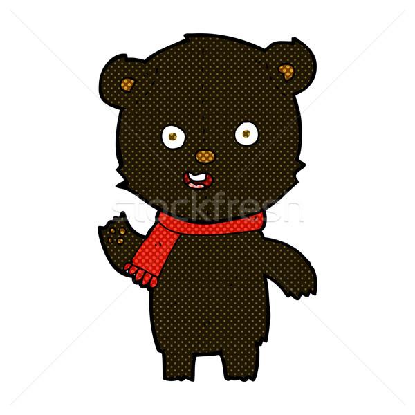 Képregény rajz integet fekete medve medvebocs Stock fotó © lineartestpilot