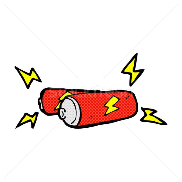 Cartoon Battery Tester : Comic cartoon batteries vector illustration