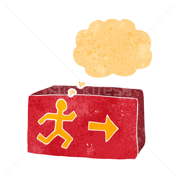 cartoon exit sign with thought bubble Stock photo © lineartestpilot