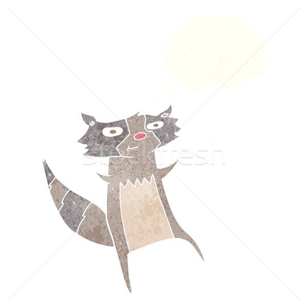 Cartoon wasbeer gedachte bel hand ontwerp gek Stockfoto © lineartestpilot