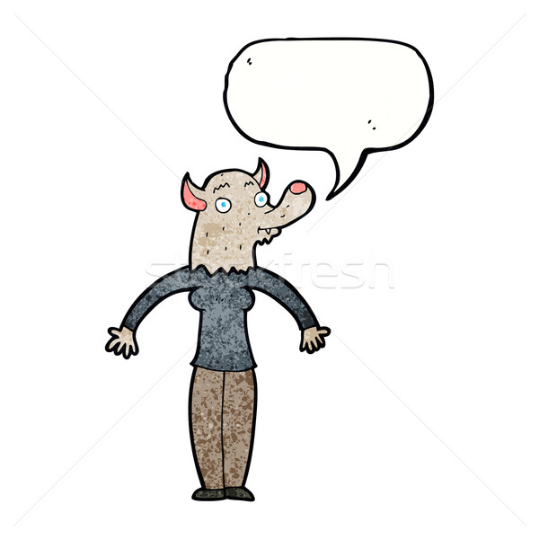 Karikatür dostça kurt adam kadın konuşma balonu el Stok fotoğraf © lineartestpilot