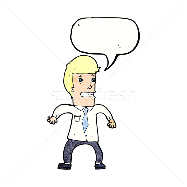 Cartoon nerveus zakenman tekstballon hand ontwerp Stockfoto © lineartestpilot