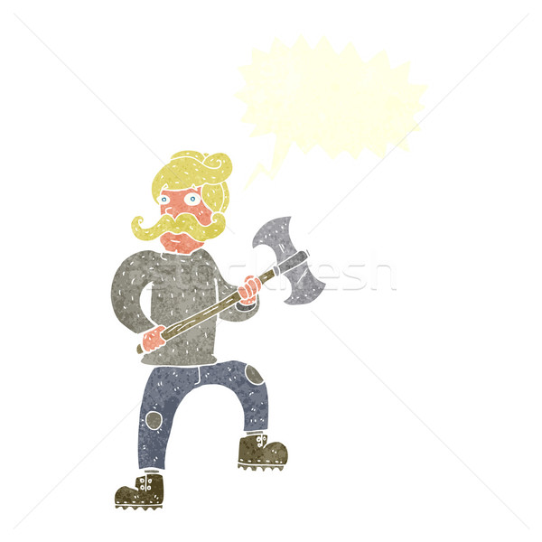 cartoon man with axe with speech bubble Stock photo © lineartestpilot