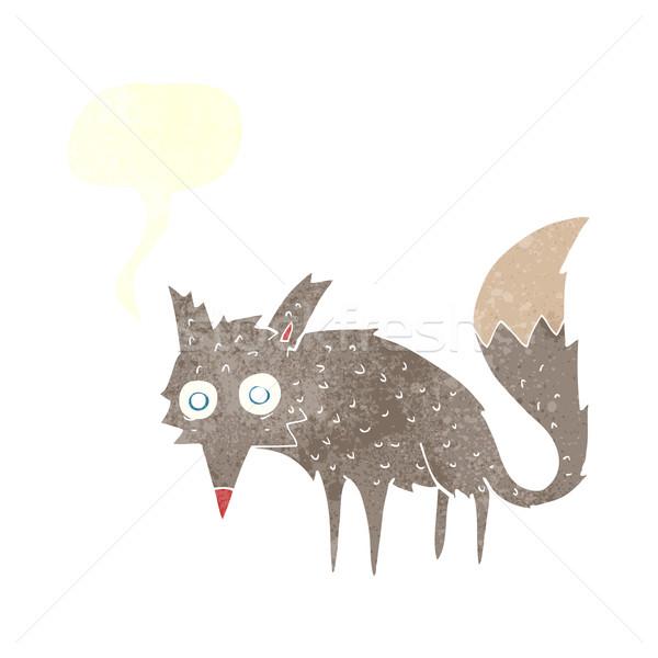 Vicces rajz farkas szövegbuborék kéz terv Stock fotó © lineartestpilot